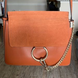 Suede and Leather Cognac Purse